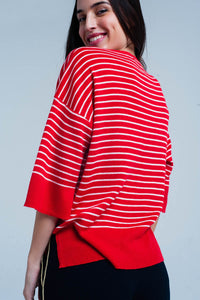 Red Striped Oversized Sweater - Esquire Label
