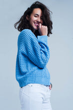 Load image into Gallery viewer, Blue Chunky Waffle Knit Sweater - Esquire Label
