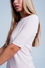 Load image into Gallery viewer, Pink Cropped Sleeve Sweater in Breton Stripe - Esquire Label