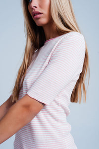 Pink Cropped Sleeve Sweater in Breton Stripe - Esquire Label