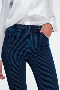 Striped Skinny Blue Jeans - Esquire Label