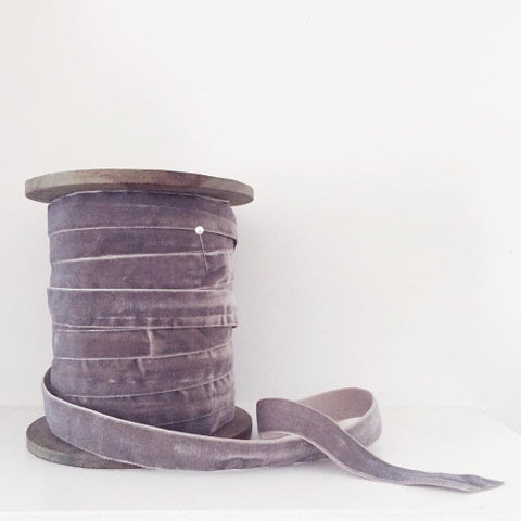 Luxe French Velvet Ribbon ~ Grey