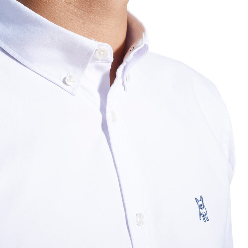 Camisa Manga Larga Oxford Sólida - Blanco