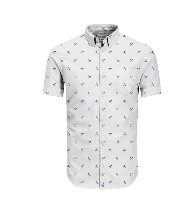 Camisa Manga Corta Greenport Jack Supplies Para Hombre - Blanco