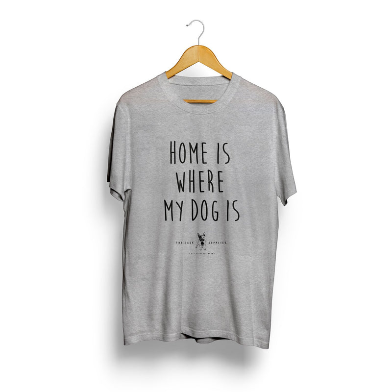 Camiseta Jack Supplies Para Hombre Home Is Where My Dog Is - Gris
