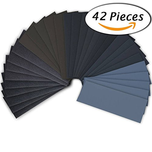 42 Pcs Wet Dry Sandpaper 120 to 3000 Grit Assortment 9 3.6 Inches Abrasive Paper Sheets for Automotive Sanding Wood Furniture Finishing