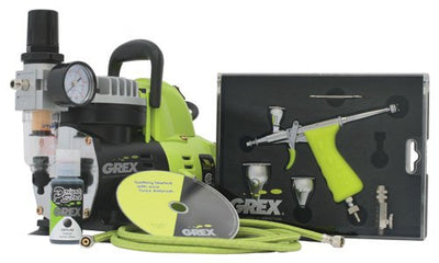 Grex GCK03 Airbrush Combo Kit with Tritium.TG3 Airbrush, AC1810-A Compressor, Accessories and DVD