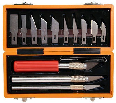 17 Piece Hobby Craft Utility Knife Set In ABS Plastic Storage Case
