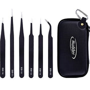 Mudder 6 Pieces Anti-static ESD Tweezer Kit Non-magnetic ESD Tweezers with Storage Bag
