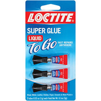 Loctite Super Glue Liquid To Go, Clear, 3 - 0.03 Ounce Squeeze Tubes (1734231)
