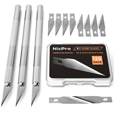 Nicpro 123 PCS Precision Cutter Hobby Knife Set,3 Hobby Exacto Knife with 120 PCS Hobby Blades Refill Excel Craft Art Knife Kit Cutter for Art, Hobby, Scrapbooking,Stencil
