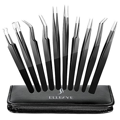 Precision Tweezers Set, ElleSye 10 PCS ESD Tweezer Set, Anti-Static Stainless Steel Tweezers Kit Curved Tweezers for Craft, Jewelry, Electronics, Laboratory Work