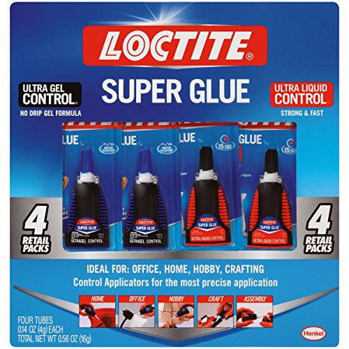 Loctite 2268382 Super Glue Control Ultra Gel and Ultra Liquid Value Pack of (4) 4-Gram Bottles