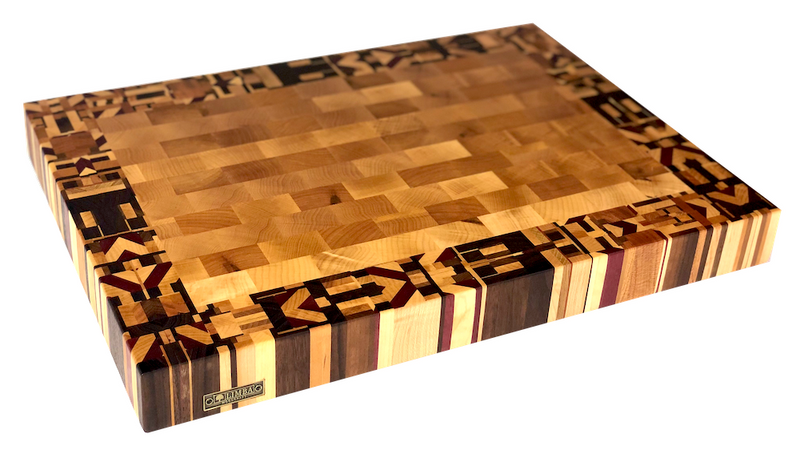 Confetti Border Butcher Block End Grain 19.5x14.5x2 | Cutting Boards - LIMBA Woodcraft