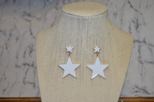 Acrylic White Star Earrings
