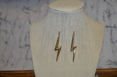 Rhinestone Lightning Bolt Earrings