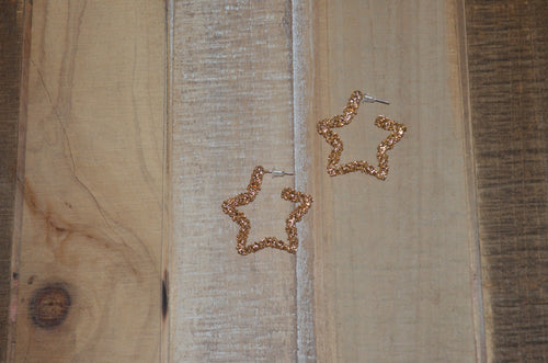 Gold Speckle Star Earrings