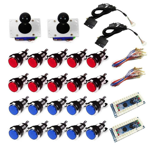 Chrome Illuminated USB Arcade Kit (for PC/PS3/MAME) Red & Blue