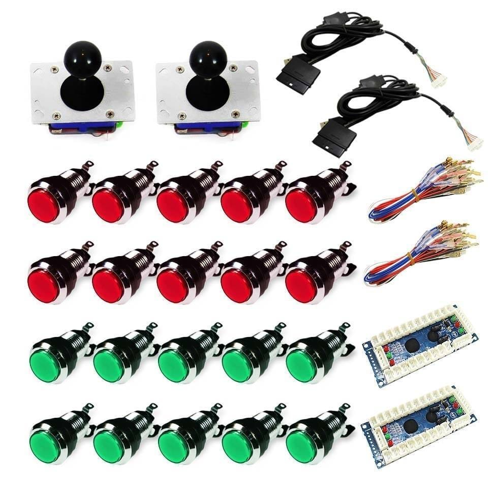 Chrome Illuminated USB Arcade Kit (for PC/PS3/MAME) Red & Green