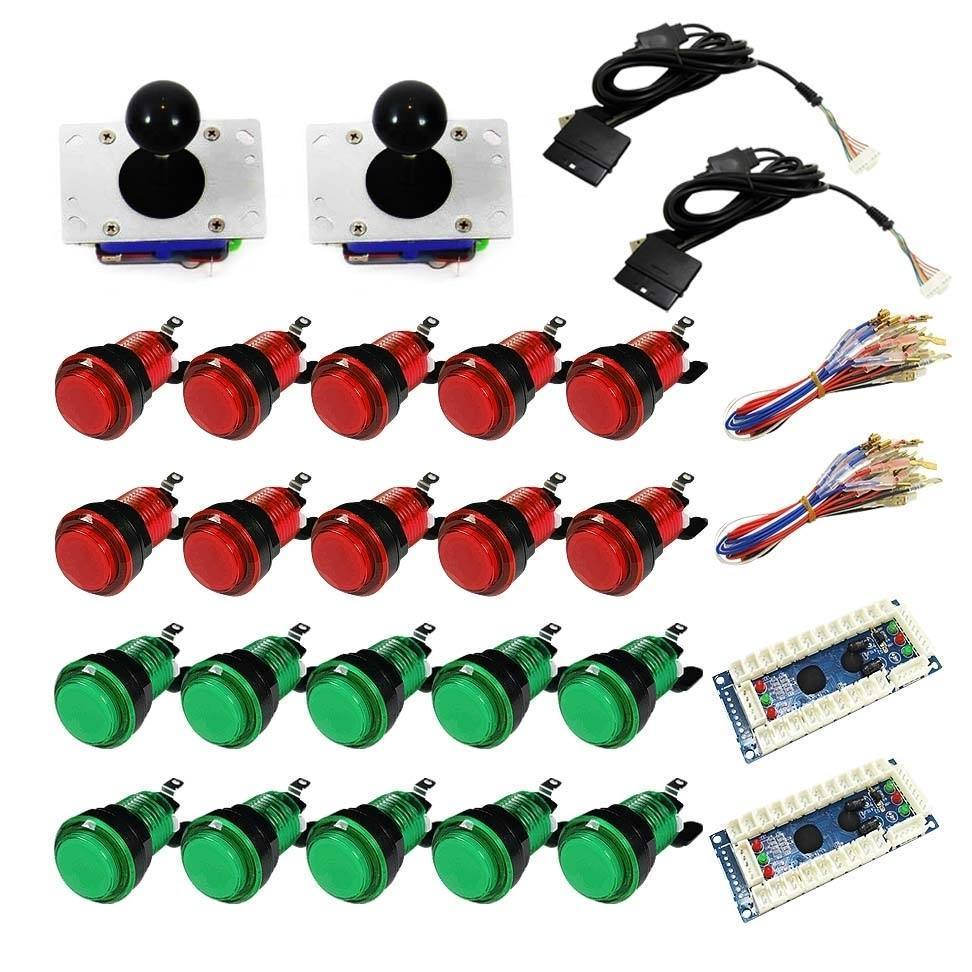 Illuminated USB Arcade Kit (for PC/PS3/MAME) Red & Green