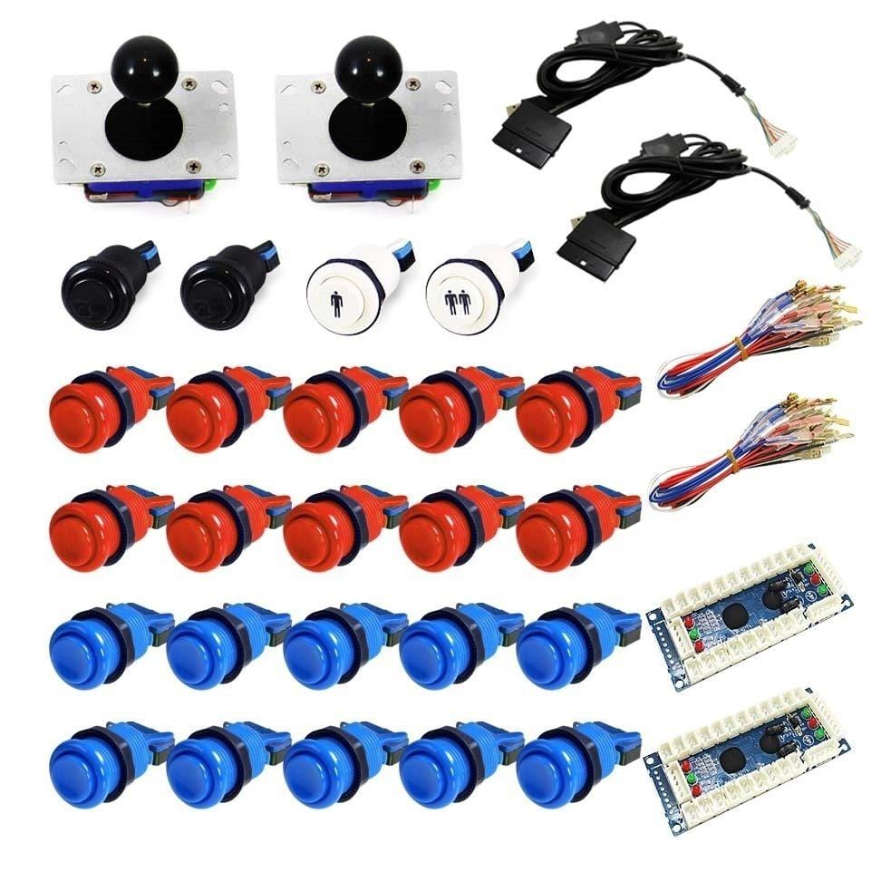 USB Arcade Kit (for PC/PS3/MAME) Red & Blue - DIY Arcade Australia