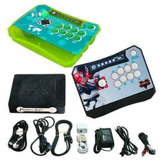 Wireless Arcade Stick Home Console with 680 Games (Two player) Green & Black