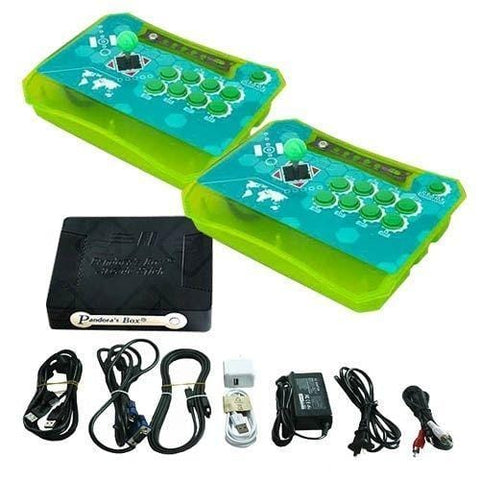 Wireless Arcade Stick Home Console with 815 Games (Two player) All Green