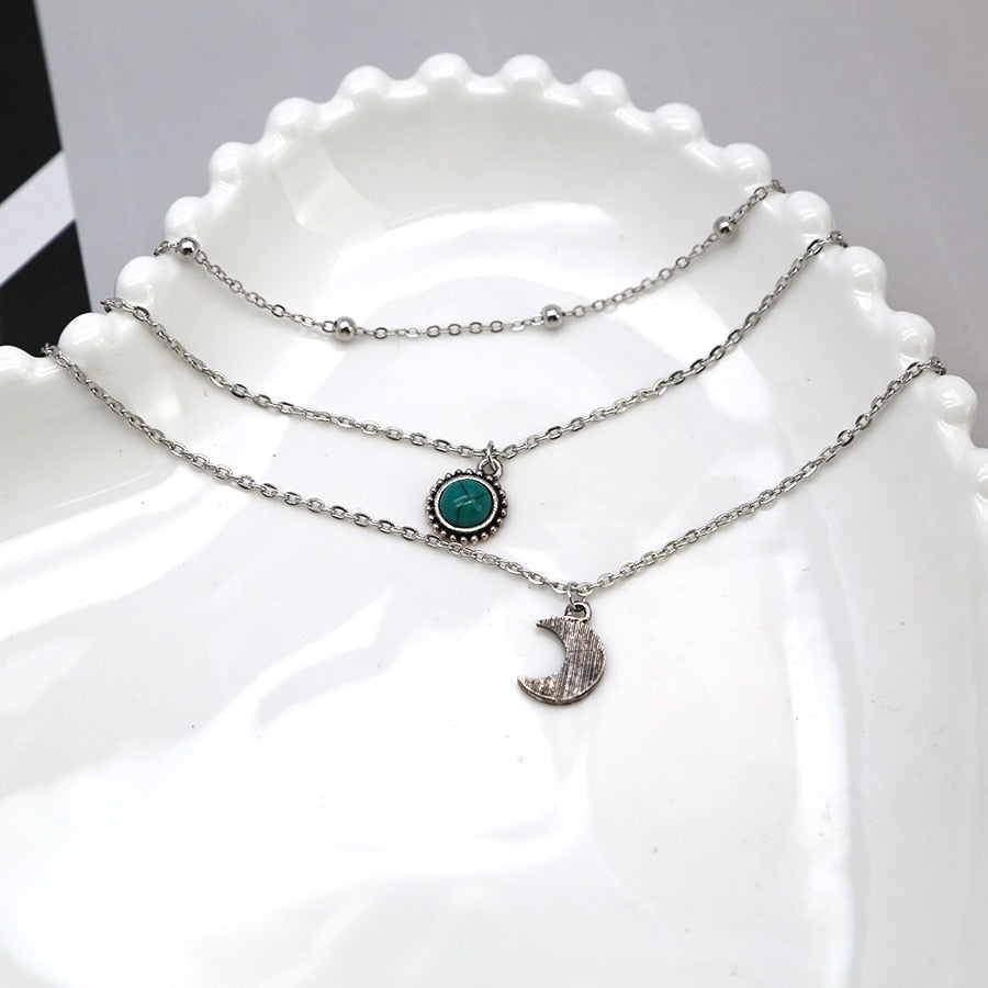 Bohemian Crescent Moon Multilayer Necklace