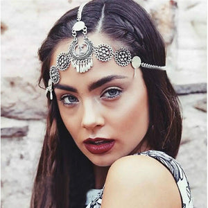 Retro Carved Tassel Headdress