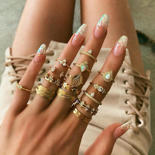 15pcs Set Golden Boho Ring