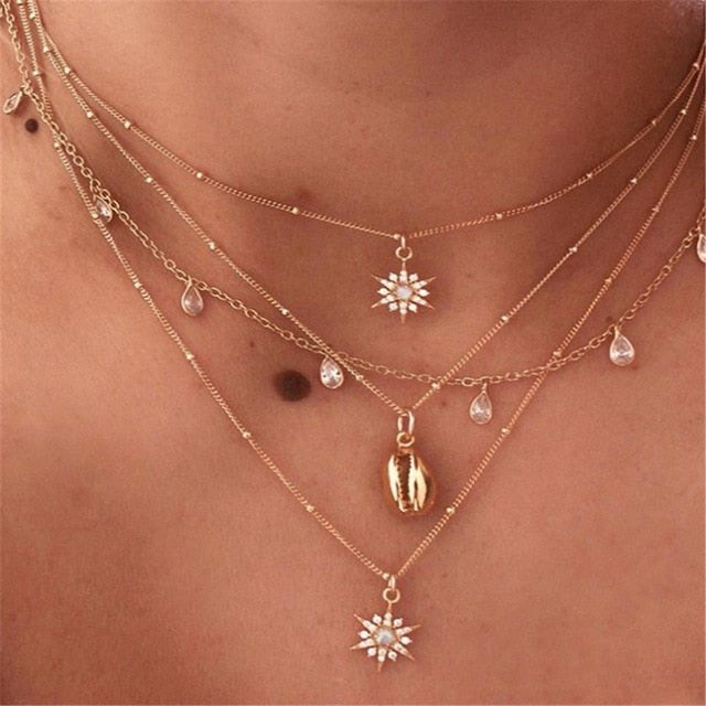 Fearless Girl Multi Layered Shina Star Drop Necklace