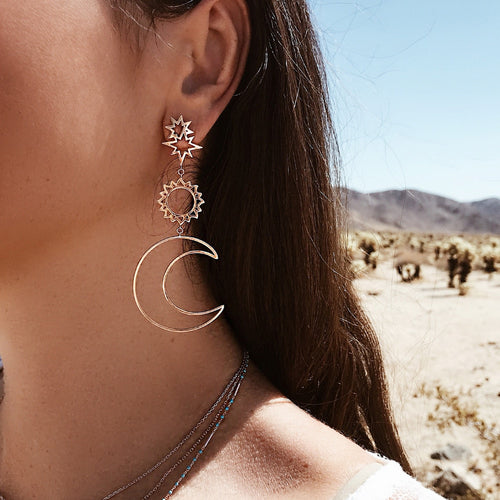 Fearless Girl Bohemian Star Sun Moon Drop Earrings