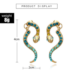 Fearless Girl Snake Rhinestones Vintage Earrings