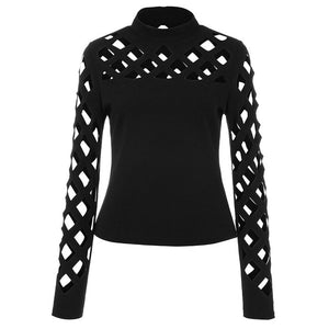 Hollow Out Long Sleeve Ladies Top