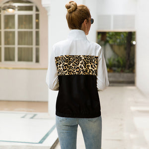 Fearless Girl Victoria Leopard Patchwork Zipper Fly Jacket