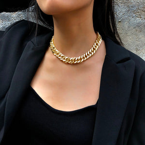 Fearless Girl Lily Cuban Thick Short Choker Necklace