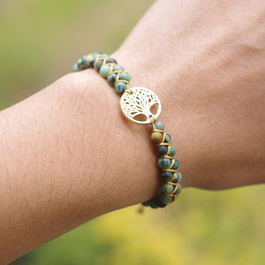 Fearless Girl Willow Natural Stone Boho Yoga Wrap Bracelet