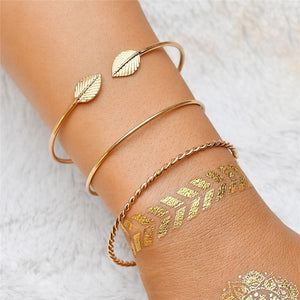 Bohemian Leaf Bangle Vintage Set