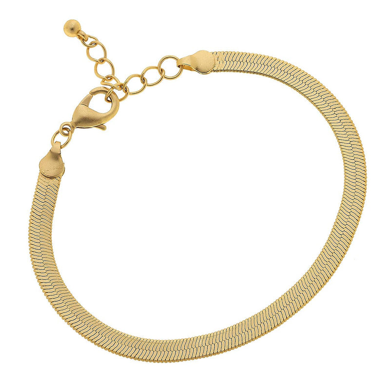 Natalie Herringbone Chain Bracelet in Worn Gold
