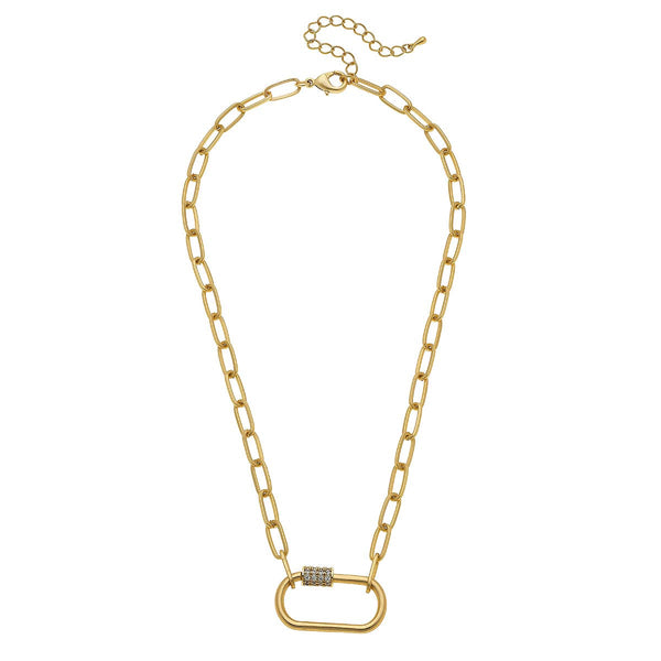 Lola Oval Screw Lock Necklace In Worn Gold