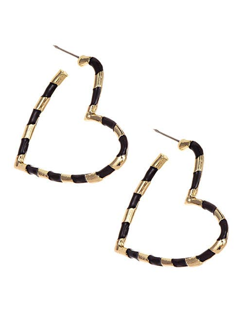 Black & Gold Open Heart Earrings