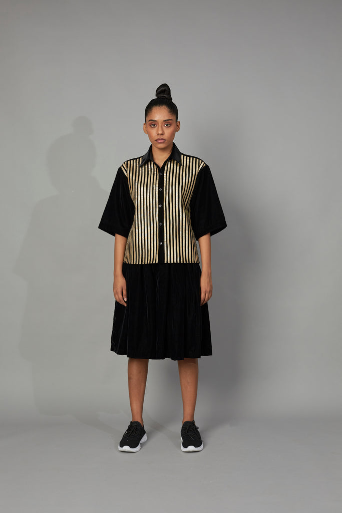 Striped Velvet Shirt GOLD/BLACK