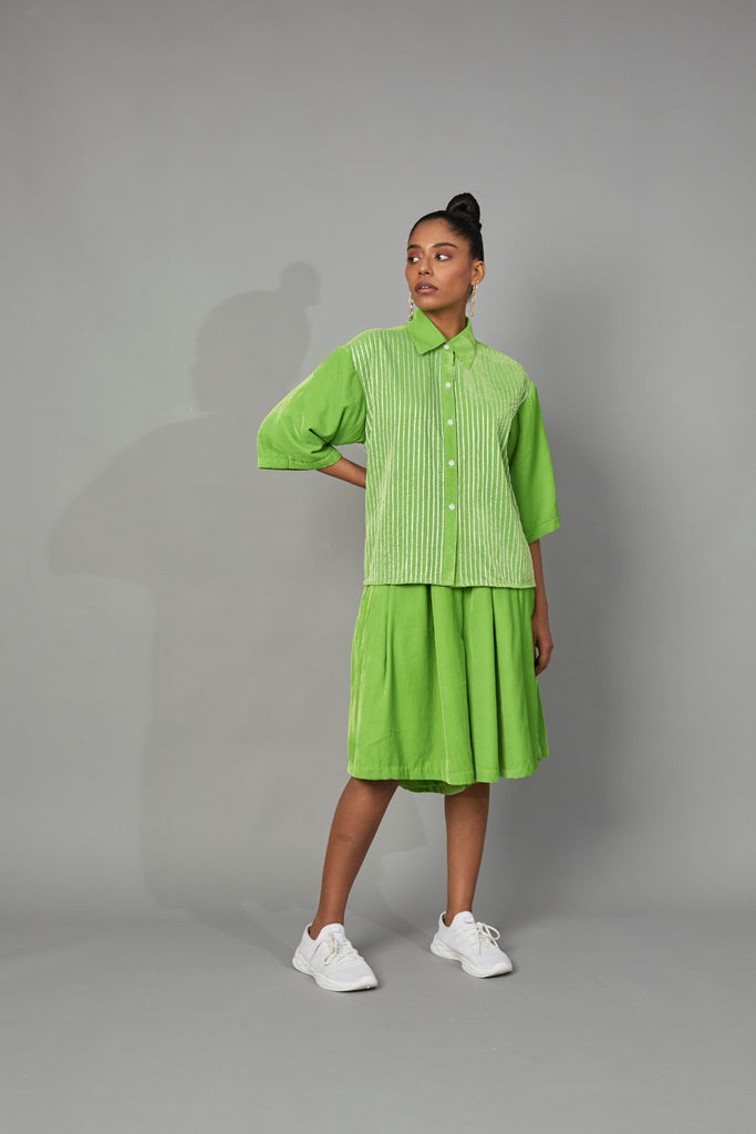 Striped Velvet Shirt SILVER/LIME