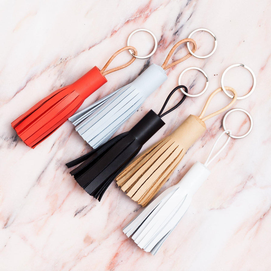 Coppius Leather Key Chain Tassle Red