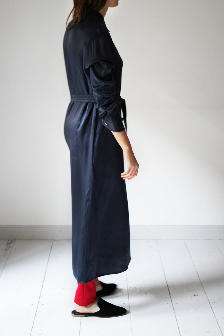 MALAIKARAISS Silk Dress dark blue