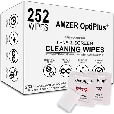 AMZER Optiplus+ Lens Cleaning Wipes, Pre Moistened Cleansing Cloths Great for Eyeglasses, Tablets, Camera Lenses, Screens, Keyboards and Other Delicate Surfaces - 252 Individually Wrapped Wipes