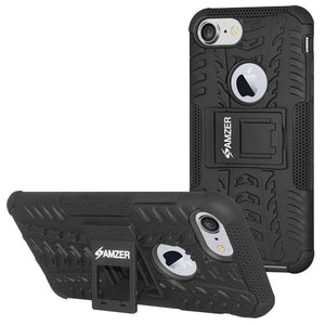 AMZER Hybrid  Warrior Dual Layer Kickstand Case for iPhone 7 - Black/Black - fommystore