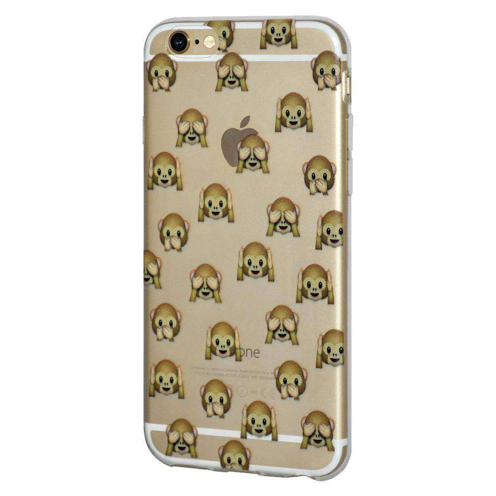 Soft Gel TPU Soft Skin Case See Hear Speak No Evil Monkeys for iPhone 6 - Clear - fommystore