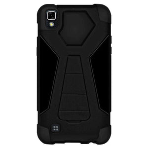 AMZER Dual Layer Hybrid KickStand Case for LG X Power - Black/Black - fommystore