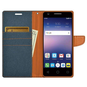 Canvas Pocket Wallet Credit Card Holder Flip Case for Alcatel Acquire - Blue - fommystore